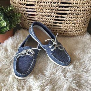 Sperry top sider blue & white slip on deck shoe